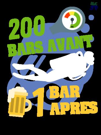 t-shirt plpongée 200 bar avant / 1 bar après